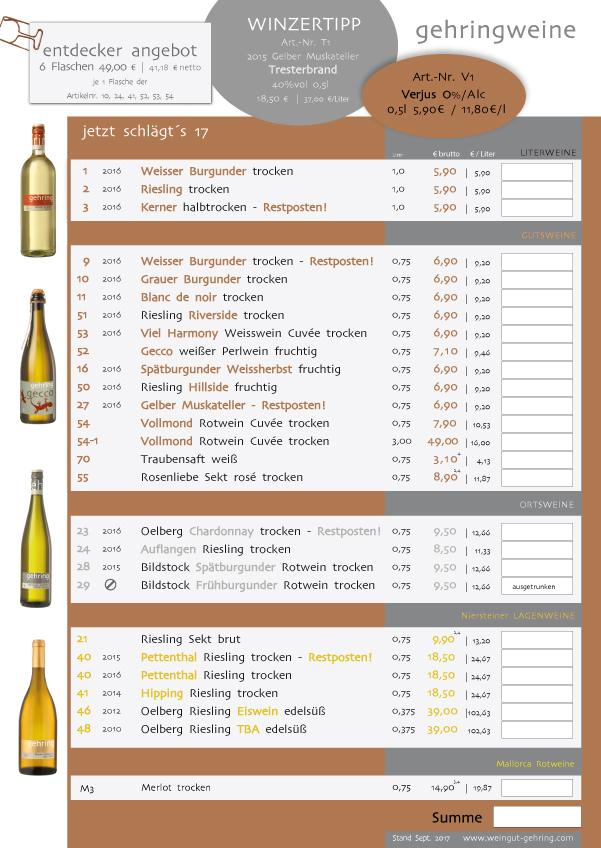 Aktuelle Preisliste Weingut Gehring